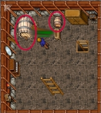 Barrels and crates in Tibia